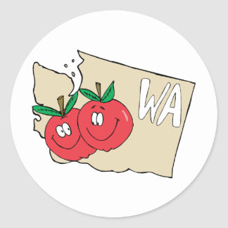 Mapa dos desenhos animados do estado de Washington Adesivos Em Formato Redondos