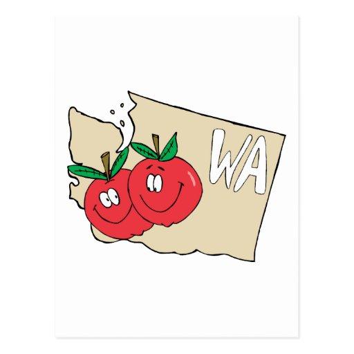 Mapa dos desenhos animados do estado de Washington Cartao Postal