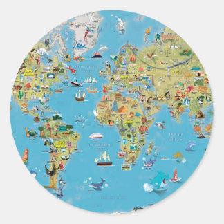 Mapa dos desenhos animados do mundo adesivo