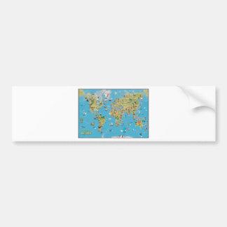 Mapa dos desenhos animados do mundo adesivo para carro