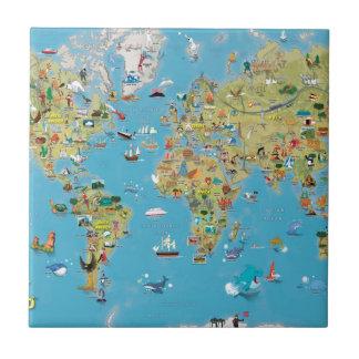 Mapa dos desenhos animados do mundo azulejo quadrado pequeno