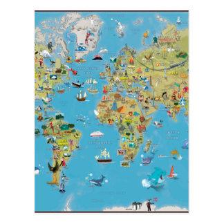 Mapa dos desenhos animados do mundo cartão postal