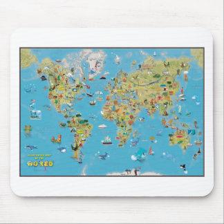Mapa dos desenhos animados do mundo mouse pad