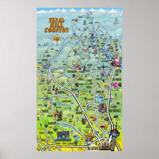 Mapa dos desenhos animados do país do monte de pôster