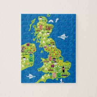 Mapa dos desenhos animados do quebra-cabeça BRITÂN