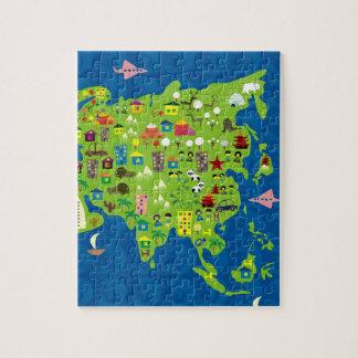 Mapa dos desenhos animados do quebra-cabeça de Ási