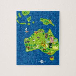 Mapa dos desenhos animados do quebra-cabeça de Aus