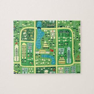 Mapa dos desenhos animados do quebra-cabeça de Bei