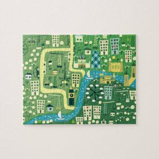 Mapa dos desenhos animados do quebra-cabeça de Lon