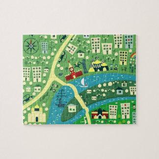 Mapa dos desenhos animados do quebra-cabeça de Mos