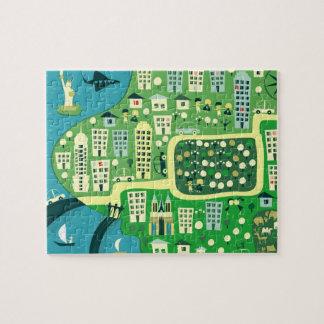 Mapa dos desenhos animados do quebra-cabeça de New