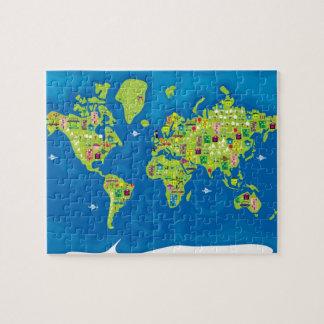 Mapa dos desenhos animados do quebra-cabeça do mun