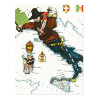 Mapa dos desenhos animados do vintage de Italia Cartão Postal
