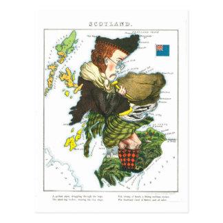 Mapa dos desenhos animados do vintage de Scotland Cartão Postal