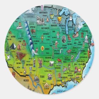 Mapa dos desenhos animados dos EUA Adesivos Em Formato Redondos