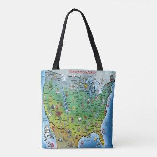 Mapa dos desenhos animados dos EUA Bolsa Tote