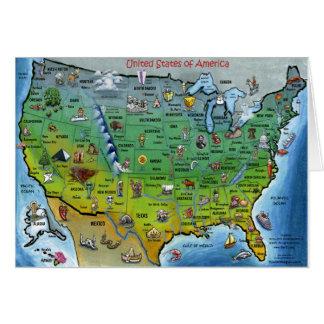 Mapa dos desenhos animados dos EUA Cartões