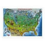 Mapa dos desenhos animados dos EUA Cartao Postal