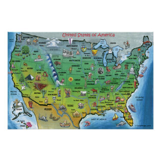 Mapa dos desenhos animados dos EUA ENORME Pôster