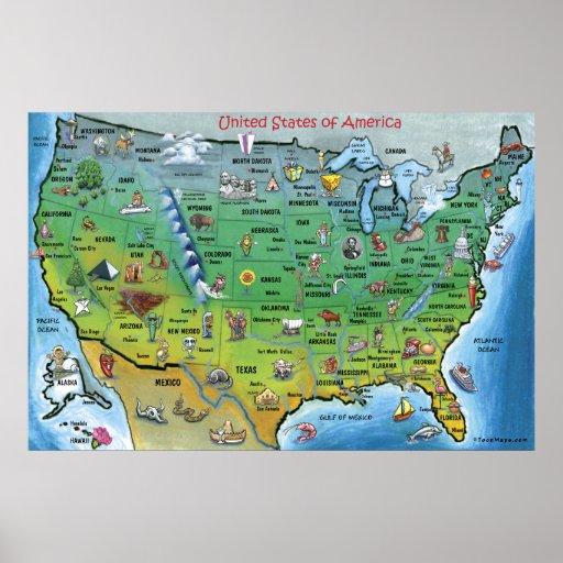 Mapa dos desenhos animados dos EUA ENORME Pôsteres