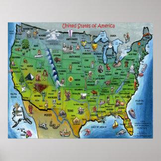 Mapa dos desenhos animados dos EUA Posters