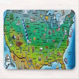 Mapa dos desenhos animados dos EUA Mousepads