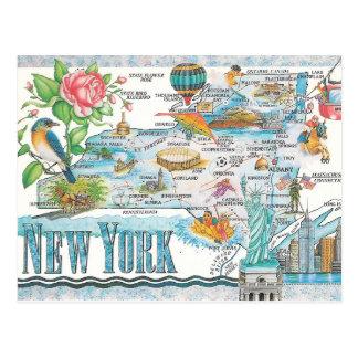 mapa dos Estados de Nova Iorque Cartão Postal