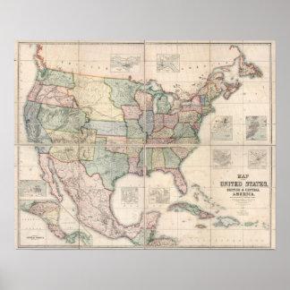 Mapa dos Estados Unidos 3 Pôster