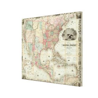 Mapa dos Estados Unidos da América Impressão Em Canvas
