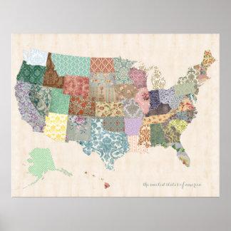 Mapa dos Estados Unidos do chique - arte do Pôsteres