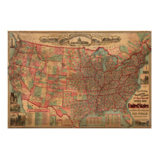 Mapa dos Estados Unidos do vintage (1883) Pôster