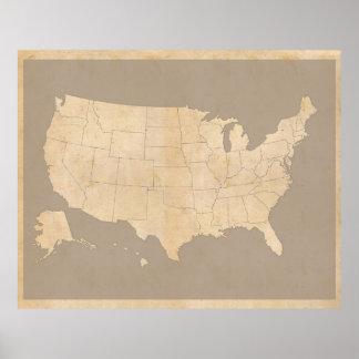 Mapa dos Estados Unidos do vintage Pôster