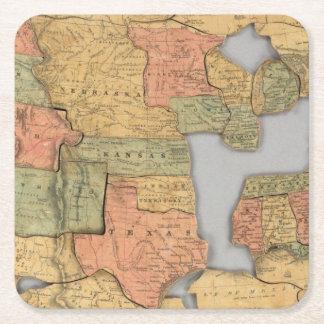 Mapa dos Estados Unidos e do Canadá Porta-copo De Papel Quadrado