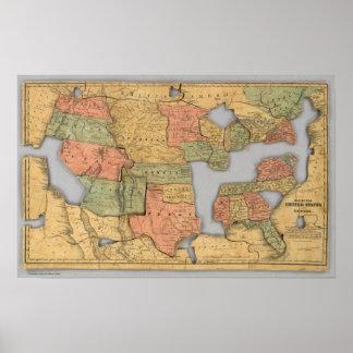 Mapa dos Estados Unidos e do Canadá Pôster