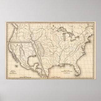 Mapa dos Estados Unidos e do Texas Poster