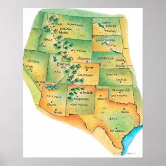 Mapa dos Estados Unidos ocidentais Posters