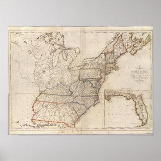 Mapa dos Estados Unidos Pôster