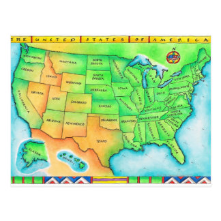 Mapa dos EUA Cartão Postal