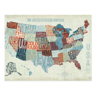 Mapa dos EUA com estados nas palavras Cartoes Postais