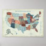 Mapa dos EUA com estados nas palavras Pôsteres
