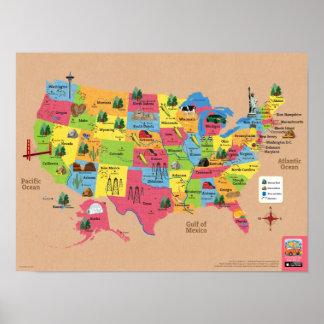 Mapa dos EUA do poster dos Estados Unidos da Pôster