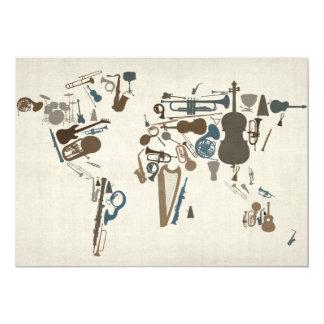 Mapa dos instrumentos musicais do mundo convites personalizado