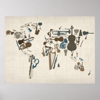 Mapa dos instrumentos musicais do mundo pôster