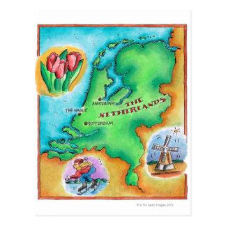 Mapa dos Países Baixos Cartão Postal
