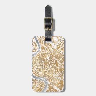 Mapa dourado da cidade de Roma Tags De Mala