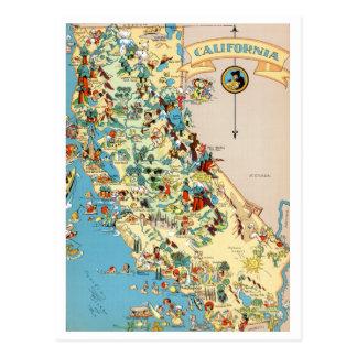 Mapa engraçado do vintage de Califórnia Cartão Postal
