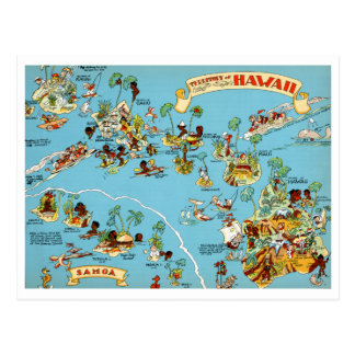 Mapa engraçado do vintage de Havaí Cartão Postal