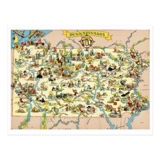 Mapa engraçado do vintage de Pensilvânia Cartão Postal