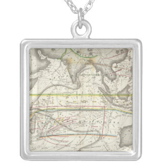 Mapa físico de mares indianos colar banhado a prata