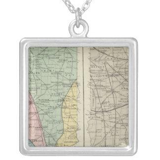 Mapa Geological de Indiana Colar Com Pendente Quadrado